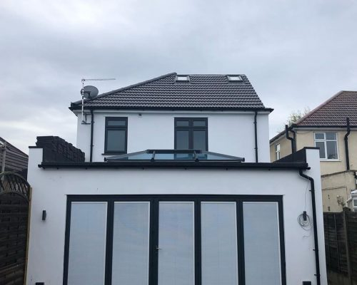 new roof and flat roof